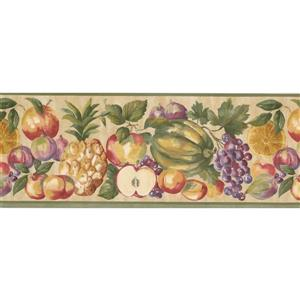 "Retro Art Apple Grapes Pineapple Wallpaper Border - 15' x 9"" - Beige"