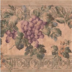 York Wallcoverings Grape vines Wallpaper Border - 15-ft x 10-in - Beige
