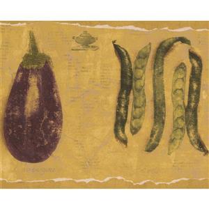 Norwall Eggplant Peas Asparagus Wallpaper Border - 15' x 9-in- Yellow