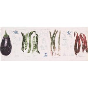 Norwall Peas Asparagus Wallpaper Border - 15' x 9-in- White