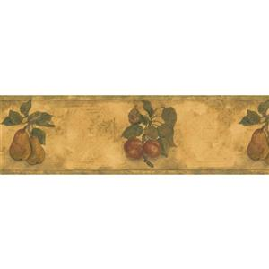 Norwall Pear Apple on Vines Wallpaper Border - 15' x 7-in- Yellow