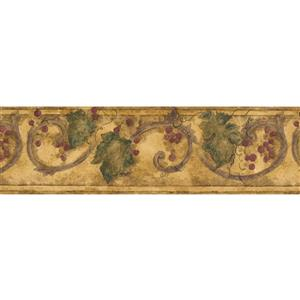 Norwall Berries and Leaves Wallpaper Border - 15' x 7-in- Yellow