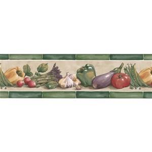 "Retro Art Tomato Peas Wallpaper Border - 15' x 7"" - Green"