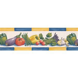 Retro Art Eggplant Tomato Peas Wallpaper Border - 15' - Multicolour