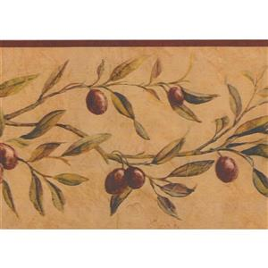 "Chesapeake Violet Berries Wallpaper Border - 15' x 6"" - Brown"