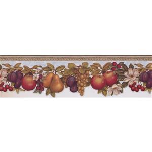 "Chesapeake Fruits Apple Pear Wallpaper Border - 15' x 6.25"" - White"