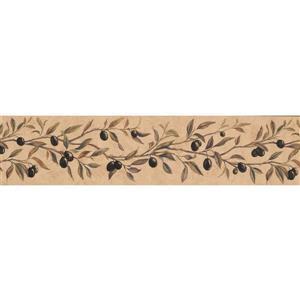 "Chesapeake Black Berries on Vine Wallpaper Border - 15' x 6"" - Beige"