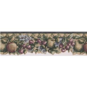 Norwall Apple Cherry Strawberry Wallpaper Border - 15' - Blue