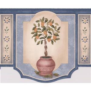 "Retro Art Fruit Trees in pots Wallpaper Border - 15' x 6.5"""
