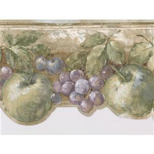 Norwall Vintage Apple Pear Cherry Wallpaper Border - 15' x 7-in- Gray
