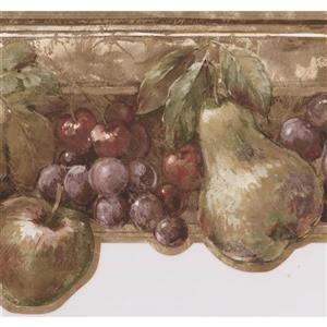 Norwall Vintage Apple Pear Wallpaper Border - 15' x 7-in- Brown