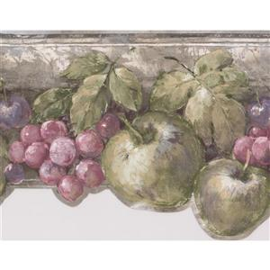 Norwall Apple Pear Cherry Wallpaper Border - 15' x 7-in- Gray