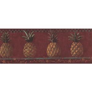 York Wallcoverings Pineapple on Shelf Wallpaper Border - 15-ft x 9.25-in - Red