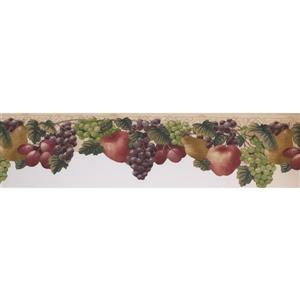 Norwall Grapes Apple Plums Wallpaper Border - 15' x 5.5-in- White