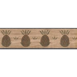 "Chesapeake Pineapple Wallpaper Border - 15' x 6.5"" - Brown"