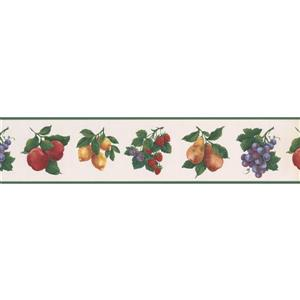 Norwall Fruits Apple Wallpaper Border - 15' x 5.2-in- Green