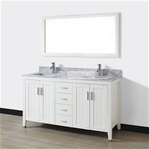 Spa Bathe 60-in JAQ Series Double Vanity,JA60WHT-CWM
