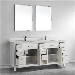 Spa Bathe Kenzie Double Sink Bathroom Vanity with Mirrors - 75-in - White