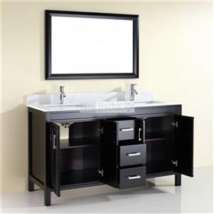 "Spa Bathe Cora Double Sink Vanity - 3 Drawers - 60"" - Espresso"