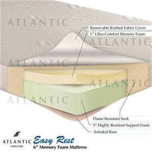 Atlantic Furniture Easy Rest Memory Foam Mattress 6 inch Twin