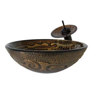 Novatto Mosaico Glass Vessel Sink Set,NSFC-032001ORB