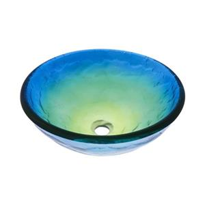 Novatto Mare Blue, Yellow and Green Swirled Round Glass Vess