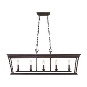 Golden Lighting 4214-LP EB Davenport 5 Light Linear Pendant,