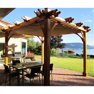 Outdoor Living Today Breeze Pergola with Retractable Canopy- 8'x10'- Natural Cedar
