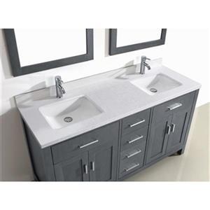 "Spa Bathe Kenzie Bathroom Vanity with Mirrors - Double Sink - 63"" - Grey"