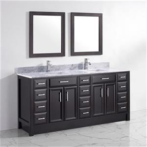 "Spa Bathe Calumet Bathroom Vanity with 2 Mirrors - Double Sink - 75"" - Black"