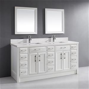 "Spa Bathe Calumet Bathroom Vanity - 2 Sinks - 75"" - White"