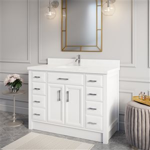 "Calumet Bathroom Vanity with Countertop - 48"" - White"