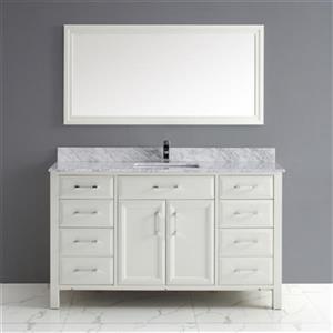 Calumet 60-in Single Sink Vanity with Carrera Marble Top