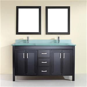 Spa Bathe Cora 60-in Double Sink Vanity with Glass Top,CO60E