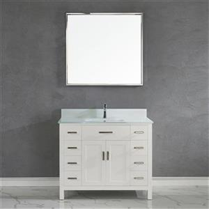 Spa Bathe Kenzie 42-in Single Sink Vanity with Glass Top,KZ4