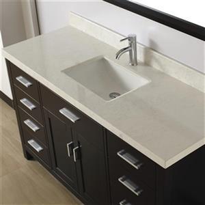 """Kenzie Bathroom Vanity with Countertop - 60"""" - Espresso"""