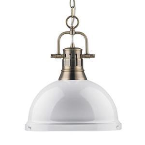 Golden Lighting 3602-L Duncan 1 Light Pendant,3602-L AB-WH
