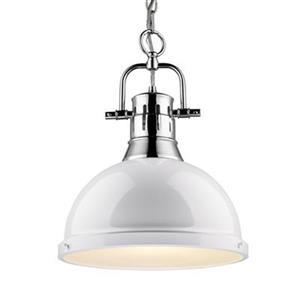 Golden Lighting 3602-L Duncan 1 Light Pendant,3602-L CH-WH