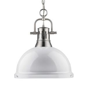 Golden Lighting 3602-L Duncan 1 Light Pendant,3602-L PW-WH