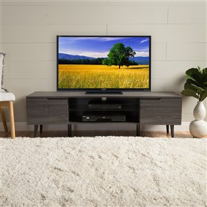 Noble House Rowan Mid-Century Modern TV Stand with Glass Shelf - Gray