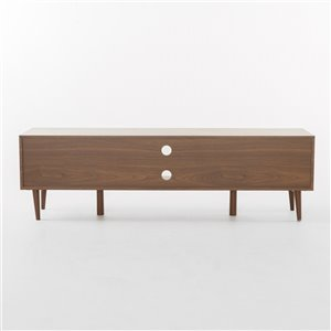 Noble House Rowan Mid-Century Modern TV Stand with Glass Shelf - Walnut