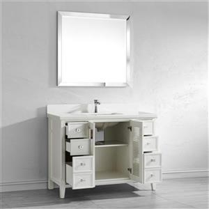 Spa Bathe Shutter 48-in Bathroom Vanity,SH48Wht-WQ