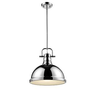 Golden Lighting 3604-L CH-CH 1 Light Pendant with Rod,3604-L