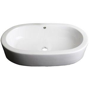 "American Imaginations Semi-Recessed Counter Vessel - 25.25"" - Ceramic - White"