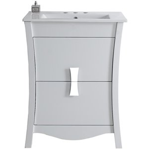 "American Imaginations Bow Vanity Set  - Single Sink - 23.75"" - White"