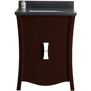 """American Imaginations Bow Vanity Set  - Single Sink - 23.75"""" - Brown"""