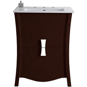 "American Imaginations Bow Vanity Set  - Single Sink - 23.75"" - Brown"