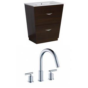 """American Imaginations Vee Vanity Set  - Single Sink - 23.75"""" - Brown"""