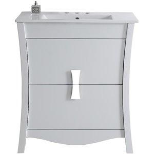 "American Imaginations Bow Vanity Set  - Single Sink - 30"" - White"
