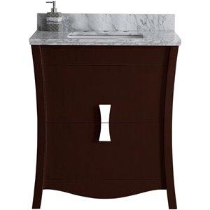 """American Imaginations Bow Vanity Set  - Single Sink - 30.5"""" - Brown"""